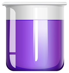 Purple liquid in glass beaker vector