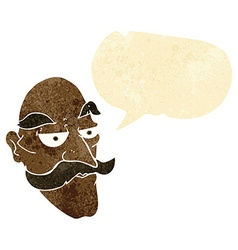 Cartoon old man face with speech bubble vector