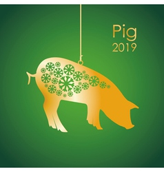 gold pig vector image