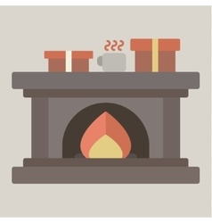 Christmas fireplace with gifts flat vector