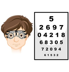 Man wearing eye test glasses and reading chart vector