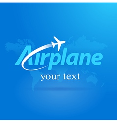 Airplane logo flight symbol emblem blue takeoff vector