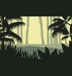 Beauty landscape forest with tree silhouette vector