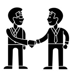 businessmen handshake - partnership icon vector image