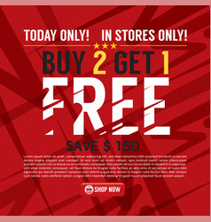 Buy 2 get 1 free background banner vector