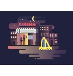 Cinema building night vector