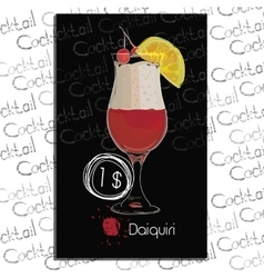 Cocktail Daiquiri with price on chalk board vector image