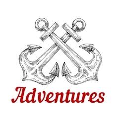 Crossed nautical anchors retro sketch vector