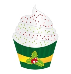 delicious christmas cupcake sweet pastry vector image