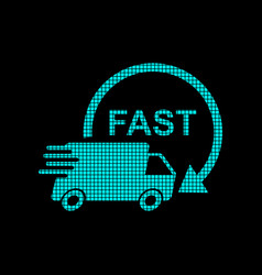 Delivery truck logotype in pixel style fast vector