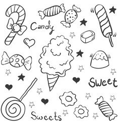 Doodle of candy various object vector