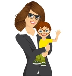 friendly young businesswoman with her little baby vector image