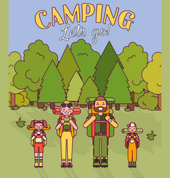 Happy family go camping in vector