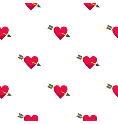 Heart pierced by cupid arrow pattern seamless vector