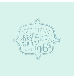 Hundred percent cotton vintage emblem vector