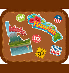 Idaho and hawaii travel stickers vector