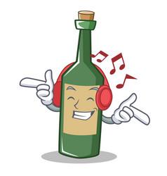 Listening music wine bottle character cartoon vector