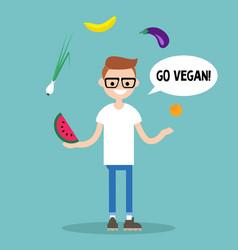 Modern lifestyle go vegan young nerd juggling vector