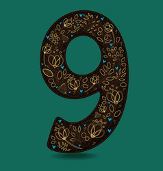 Number nine with romantic golden floral decor vector