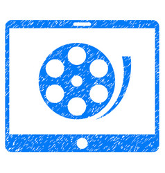 Phone video reel grunge icon vector