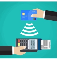 Pos terminal confirms the payment by debit card vector