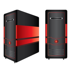 Red and black computer case isolated on white vector