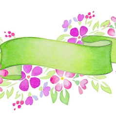 Ribbons with pink flowers and leaves vector image vector image