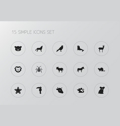 Set of 15 editable animal icons includes symbols vector