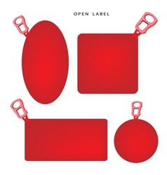 Set of red banner with pull ring vector