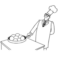 smiling cooker vector image vector image