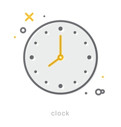 Thin line icons clock vector
