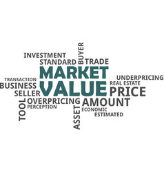 word cloud - market value vector image vector image