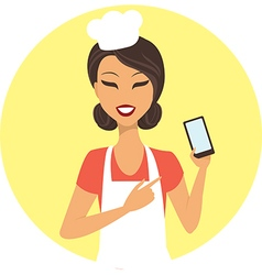Young girl chef with mobile device vector