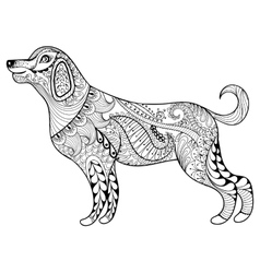 zentangle dog print for adult coloring page vector image vector image