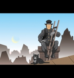 Cat and the chimney sweep vector