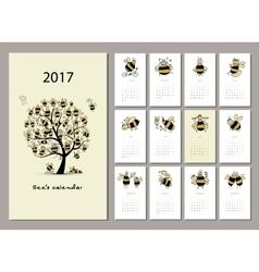 Funny bees calendar 2017 design vector