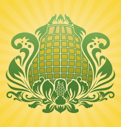 yellow flower ornament vector image