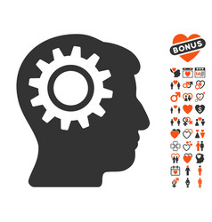 Intellect gear icon with love bonus vector
