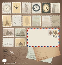 Set vintage stamp designs envelope and postcard vector