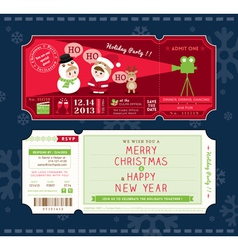 Christmas Party Cartoon Ticket Card Template vector image