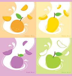 Milk flavor orange plum mango apple vector