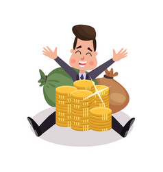 happy millionaire character has a lot of money vector image