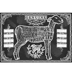 Cut of lamb on vintage blackboard vector