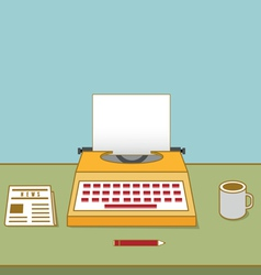 Vintage typewriter on the table with copyspace vector