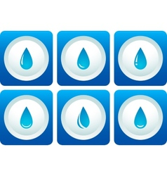 Blue water drop set vector