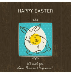 Easter card with egg and rabbit vector