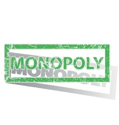 Green outlined monopoly stamp vector