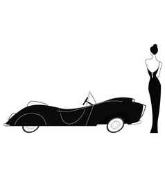 Vintage car and stylish lady vector