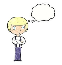 Cartoon staring boy with folded arms with thought vector