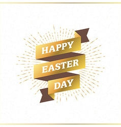 Happy easter vintage holiday golden badge template vector